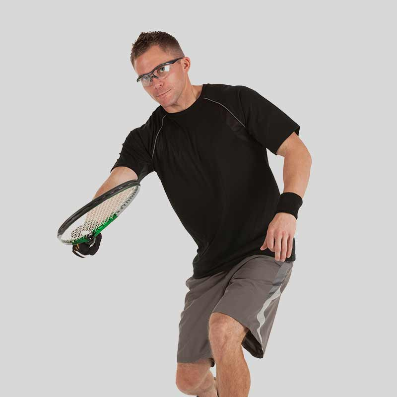 Image of a man swinging a racquetball racquet