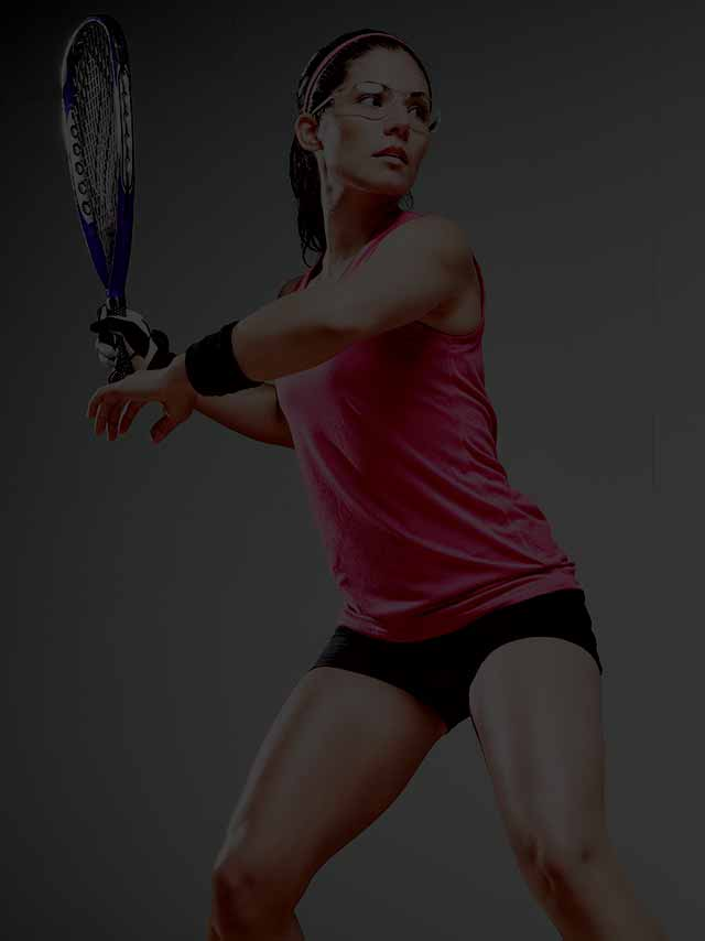 Image of a woman in racquetball gear