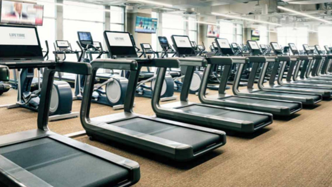 Sanitized treadmills and fitness equipment at Life Time.