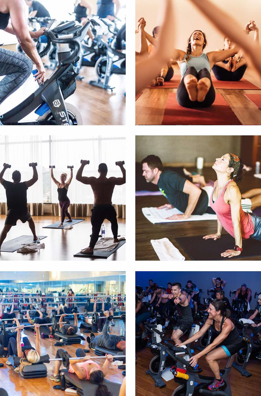 People working out in a variety of group fitness, yoga and cycle classes at Life Time.