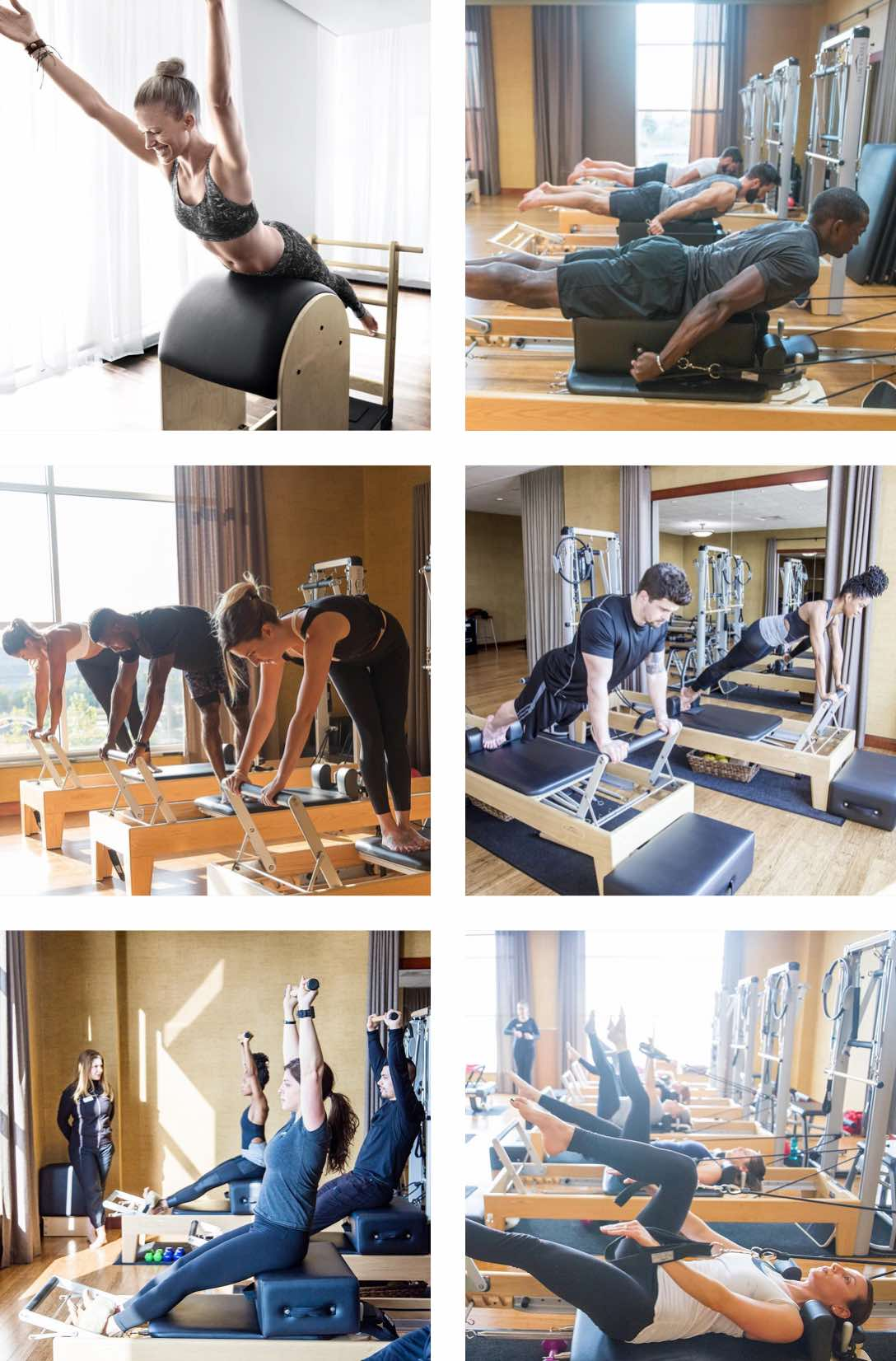 Group of people using Pilates reformer machines in a Pilates class at Life Time