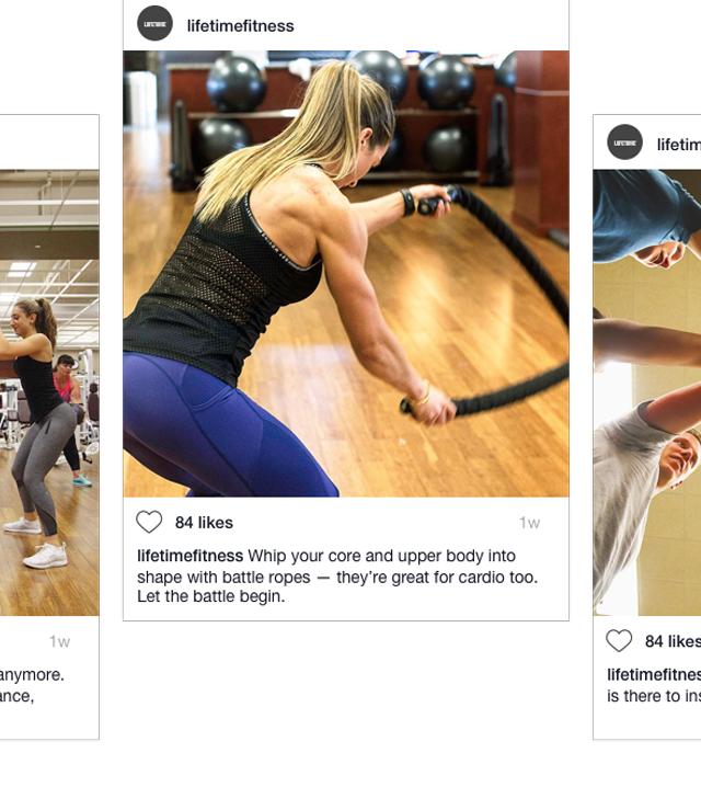A variety of Instagram images and posts showing Life Time classes and spaces