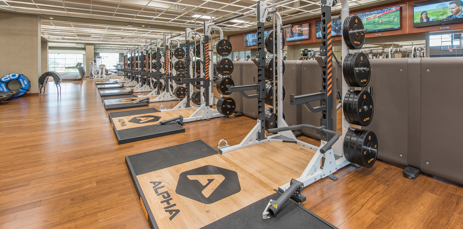 TEAM Alpha training space with a row of high-end weight training stations.